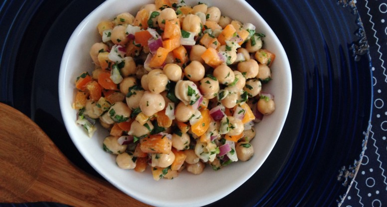 Chickpea Salad with Tahini Dressing - Sara Haas, RDN, LDN