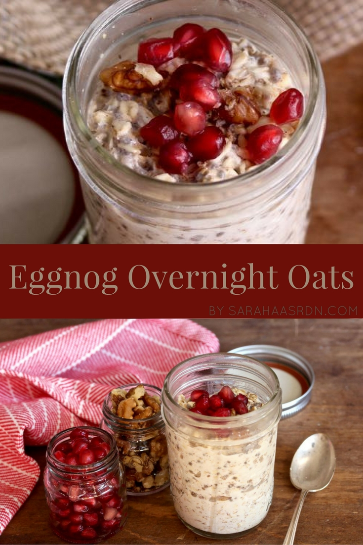 Holiday Eggnog Overnight Oats - A delicious and festive way to start your day! @cookinrd - www.sarahaasrdn.com