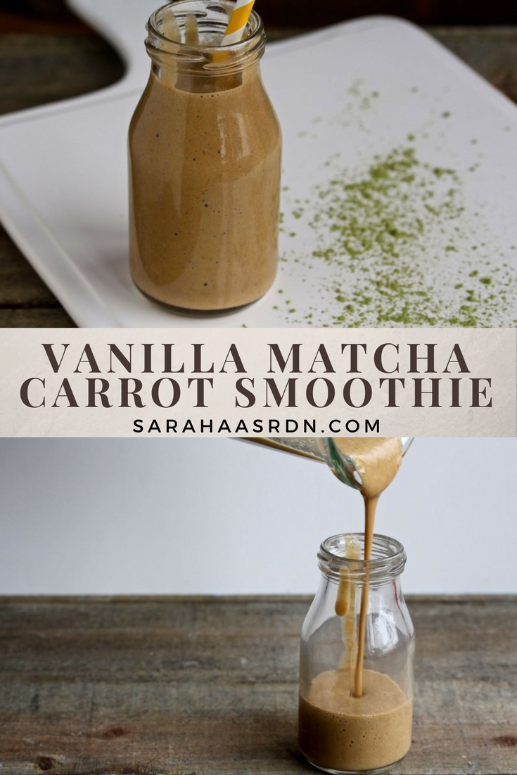 Need a new smoothie recipe? Give this vegan Vanilla Matcha Carrot Smoothie a Try! @cookinRD | sarahaasrdn.com