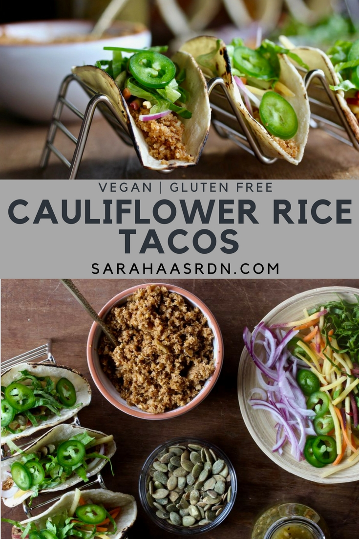 Simple Cauliflower Rice Tacos - A delicious vegetarian meal is just a simple cauliflower taco recipe away. Try this one tonight! @cookinRD | sarahaasrdn.com