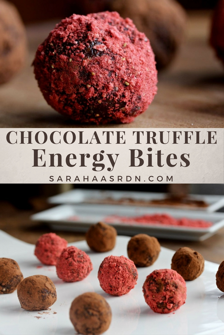 Chocolate Truffle Energy Bites - Get the energy you need and the taste of chocolate you deserve with this little bites! @cookinRD - www.sarahaasrdn.com
