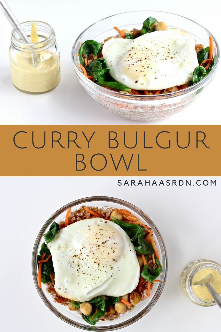 Need good food fast? Vegetarian and GF! Curry Bulgur Bowl for the win! | @cookinRD | www.sarahaasrdn.com