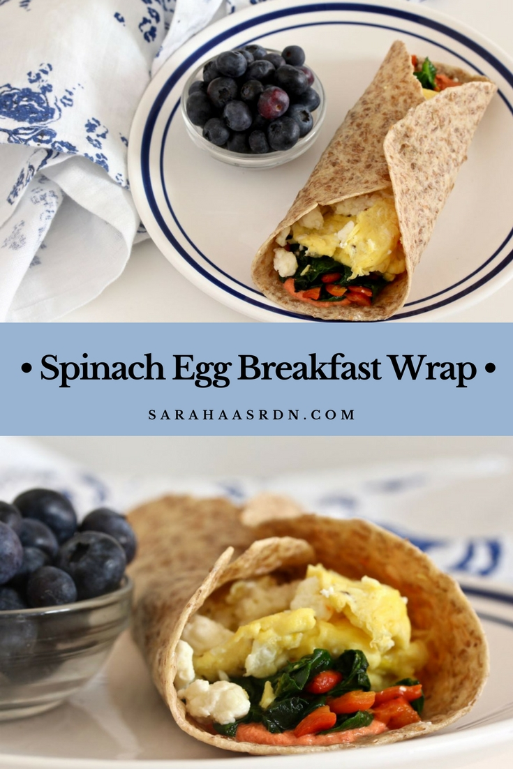 Spinach Egg Breakfast Wrap - A delicious, nourishing riff on a Starbucks favorite! @cookinRD | sarahaasrdn.com