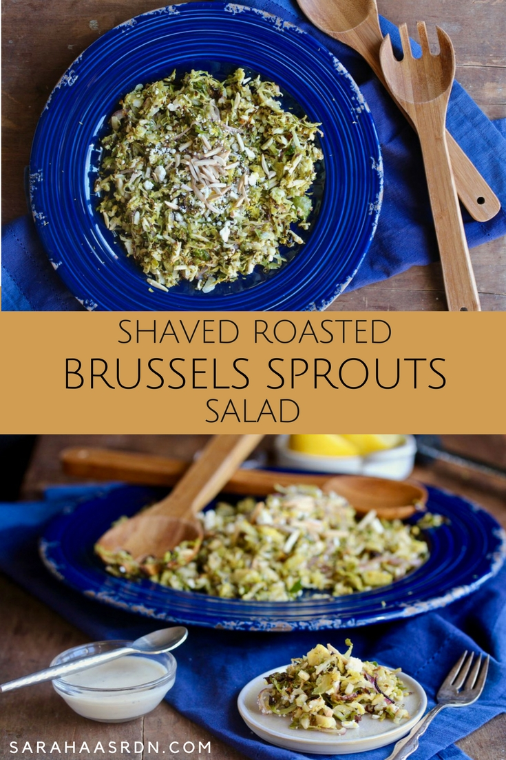 Who says you need lettuce for a salad? You don't when you've got Brussels sprouts! Try this Shaved Roasted Brussels Sprouts Salad! @cookinRD | sarahaasrdn.com