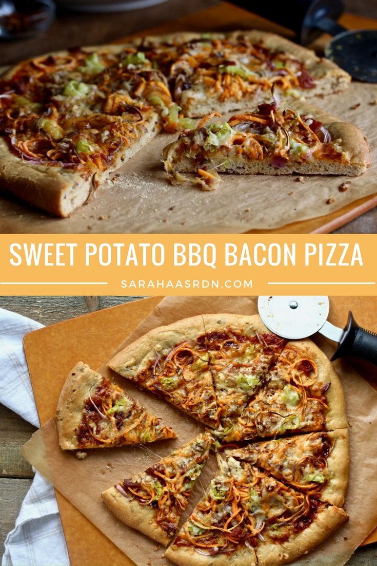 Friday is Pizza Night! If you love BBQ sauce and bacon, you'll love this Sweet Potato BBQ Bacon Pizza! @cookinRD | sarahaasrdn.com