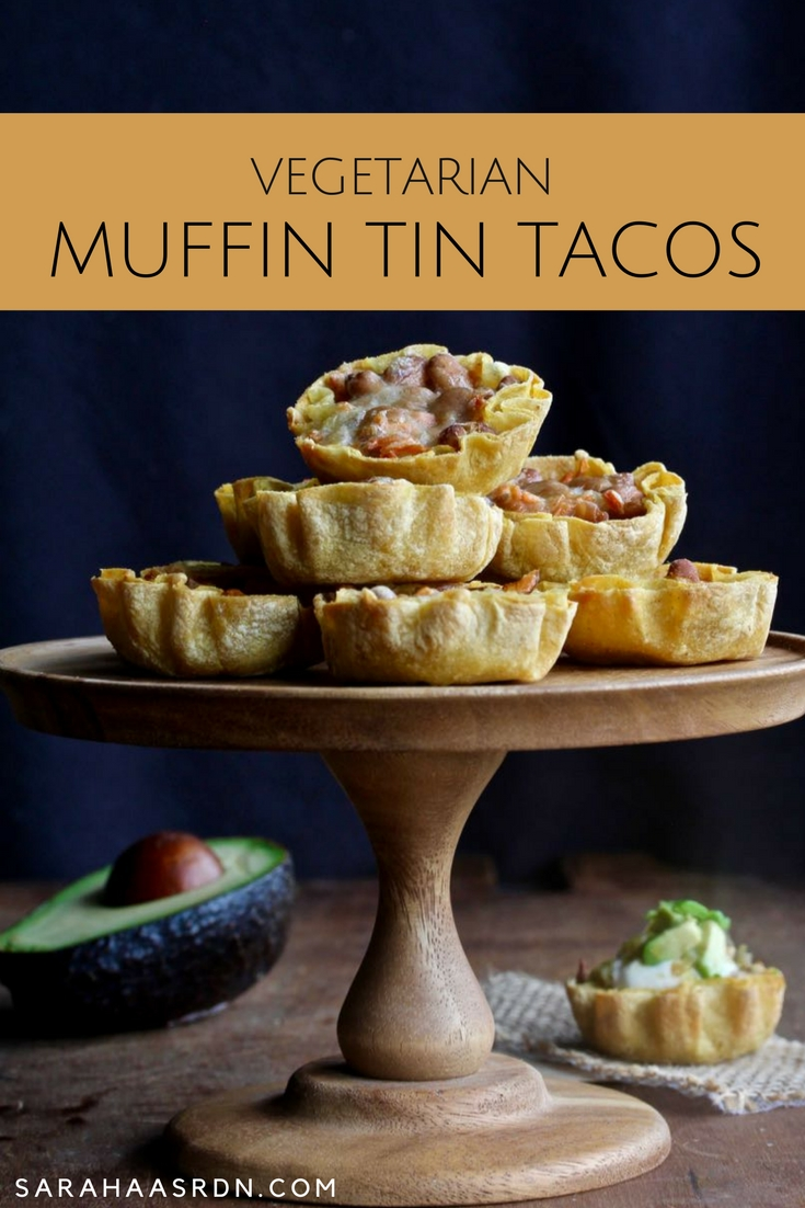 When life comes at you fast, you may need a meal idea just as fast. These Vegetarian Muffin Tin Tacos come together quickly with kitchen food staples! @cookinRD | sarahaasrdn.com