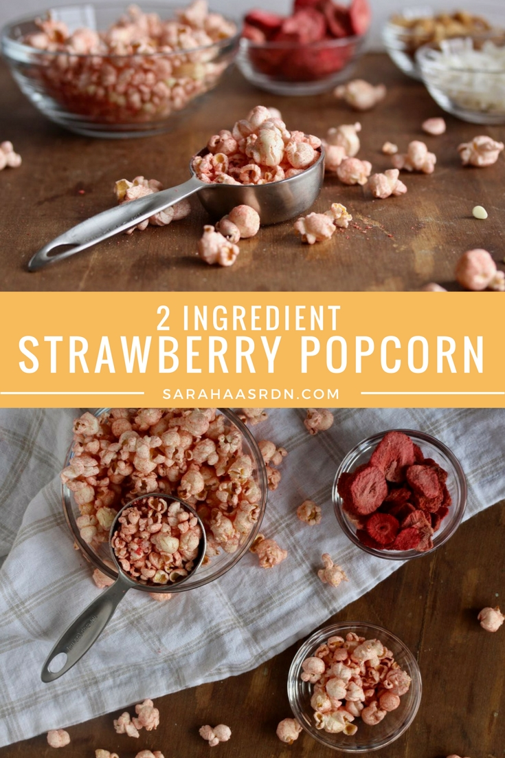 Why not jazz up your popcorn with a little color and flavor? And why not do it the natural way? Try this simple recipe for 2 Ingredient Strawberry Popcorn! @cookinRD | sarahaasrdn.com