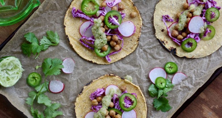 Think chickpeas make for good tacos? Me too! These Cumin Chickpea Tacos are satisfying and delicious! @cookinRD | sarahaasrdn.com