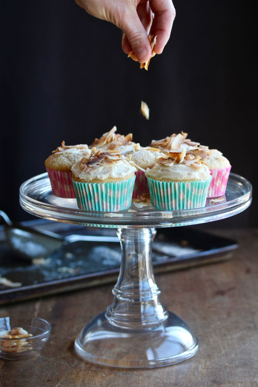 Cupcakes bring joy, so I make them. These Toasted Coconut Cupcakes are reasonably sized and better than the boxed versions! @cookinRD | sarahaasrdn.com