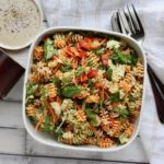 A veggie-inspired meal that comes together quickly! You'll love this Veggie Loaded Pasta Salad recipe! @cookinRD | sarahaasrdn.com