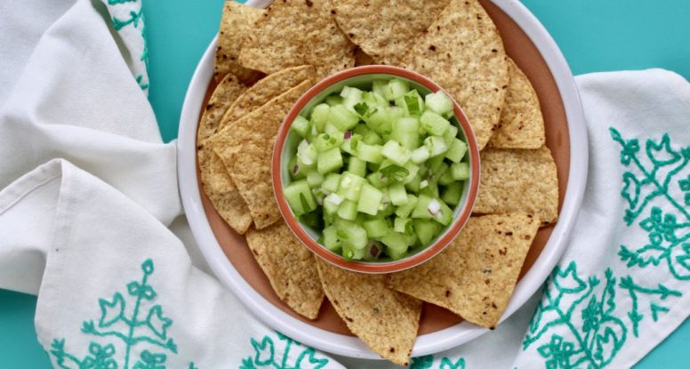 Salsas are a fun way to jazz up any meal. I love the freshness of melon & this Jalapeño Honeydew Salsa adds bright flavor to fish tacos or grilled chicken! @cookinRD | sarahaasrdn.com