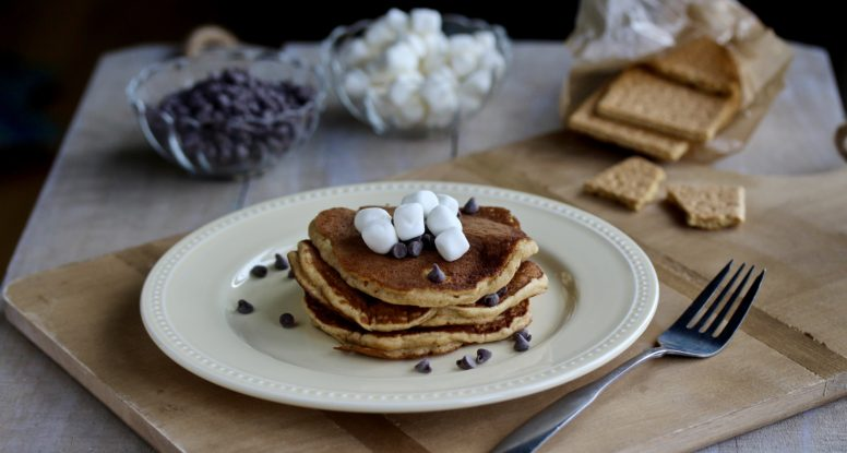 Sometimes you want breakfast to taste like a treat. But you have to go crazy. Try these Graham Cracker Pancakes for a fun twist on breakfast! @cookinRD | sarahaasrdn.com