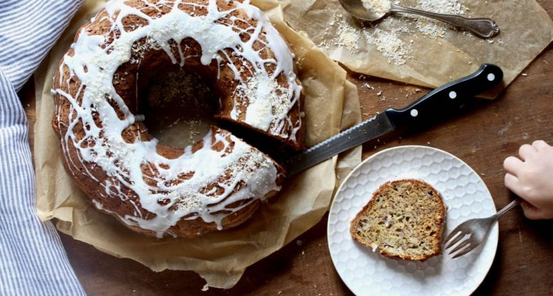 Don't toss those leftover bananas! Make this Banana Coconut Bundt Cake! @cookinRD | sarahaasrdn.com