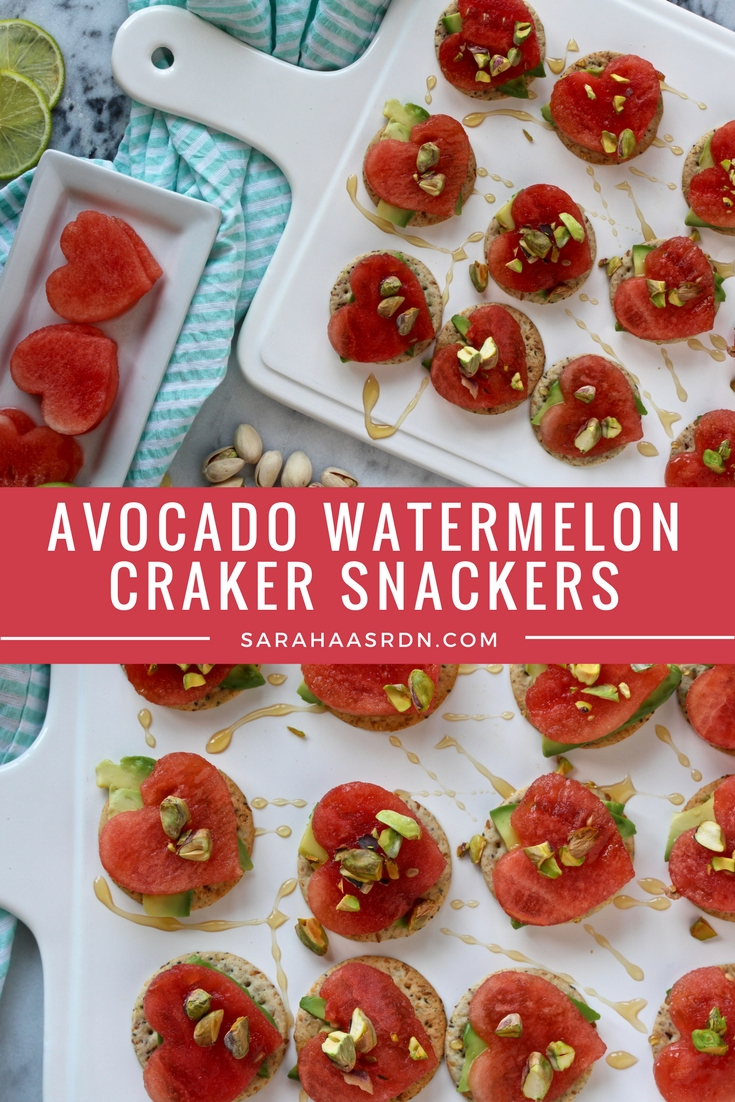 A simple after school snack that your kids can help you make! These Avocado Watermelon Snacker Crackers are a nutritious way to satisfy any hungry belly. @cookinRD | sarahaasrdn.com