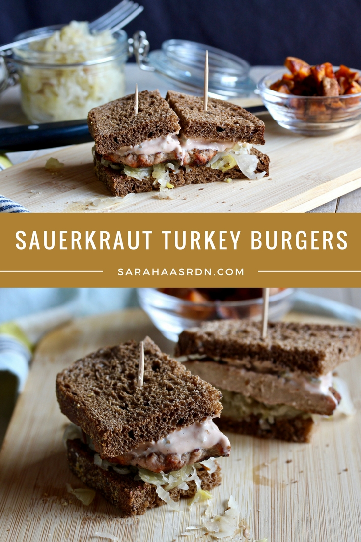 Love sauerkraut? Me too! Need ideas on how to use it? I've got them! And a recipe for Sauerkraut Turkey Burgers too! @cookinRD | sarahaasrdn.com