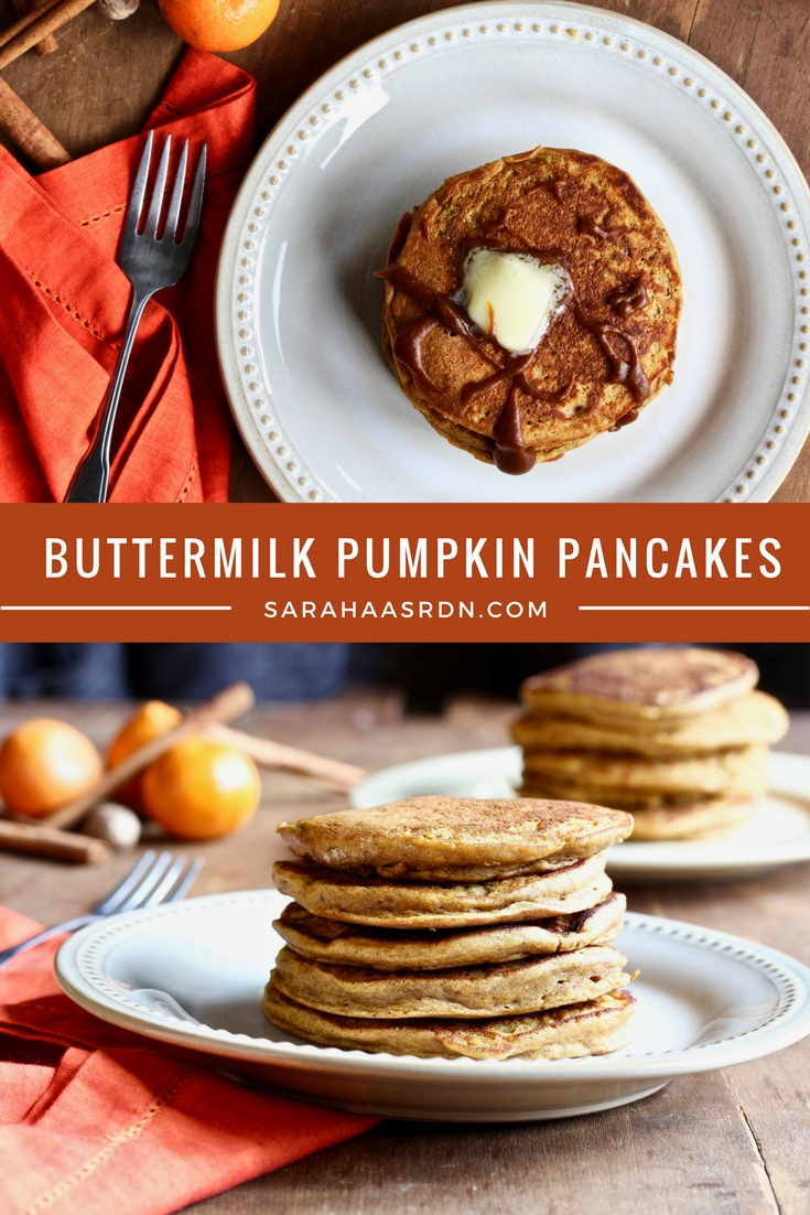 Pancakes are delicious! But Buttermilk Pumpkin Pancakes are even more delicious! Get the recipe now! @cookinRD | sarahaasrdn.com