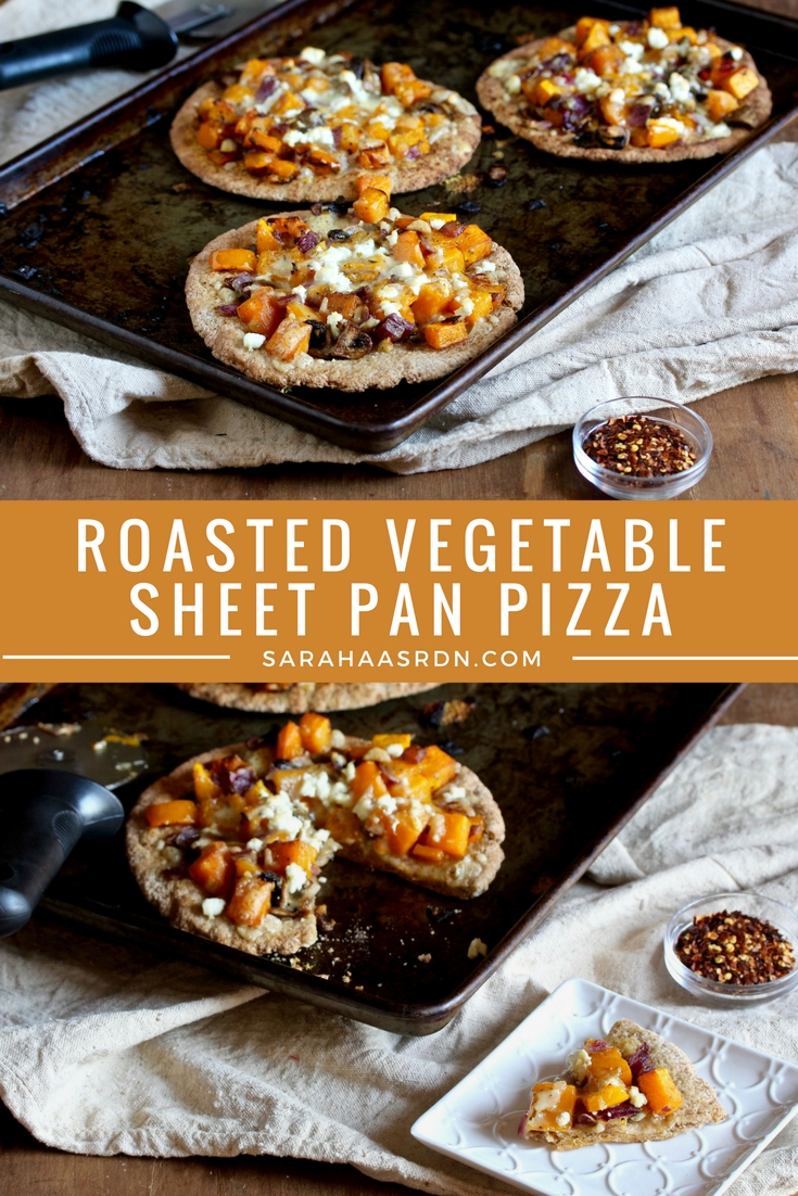 Sheet pan dinners make life easy! And when Roasted Vegetable Sheet Pan Pizzas are on the menu, you won't find anyone complaining! @cookinRD | sarahaasrdn.com