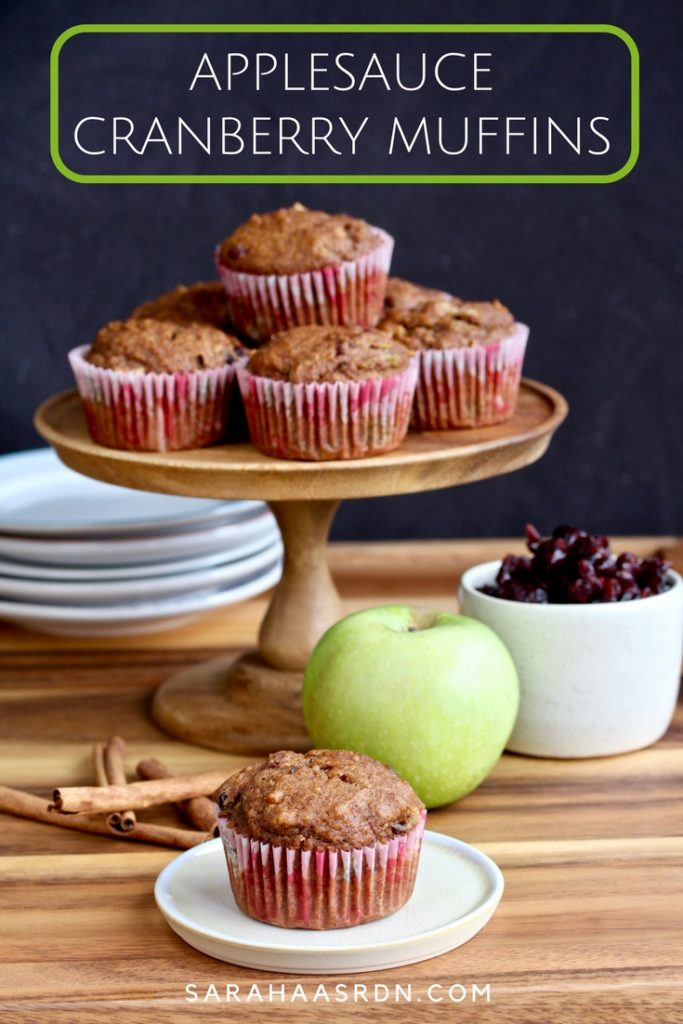 Applesauce is the perfect way to keep muffins moist! Try these super delicious, fall-inspired Applesauce Cranberry Muffins! @cookinRD | sarahaasrdn.com