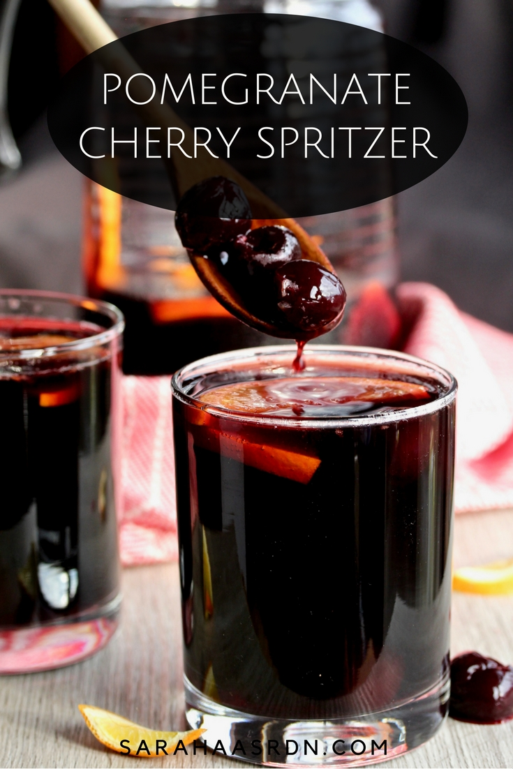 Sometimes you need a fancy drink to put you in a festive mood. This Pom-Cherry Spritzer is just the thing! @cookinRD | sarahaasrdn.com