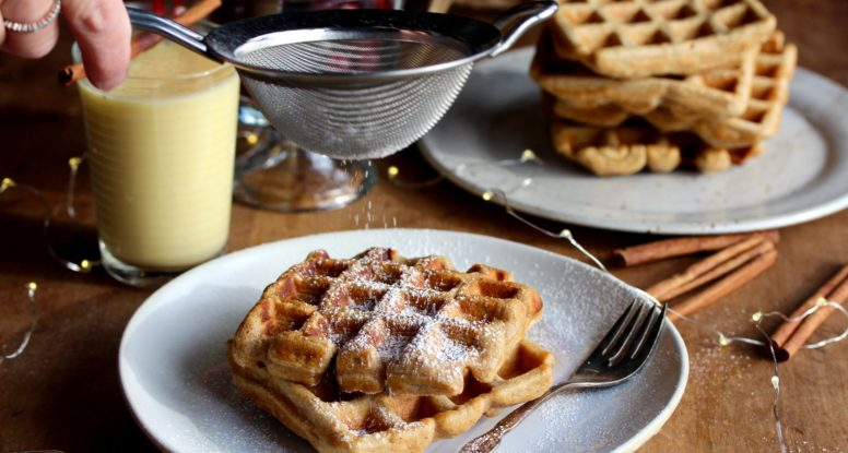 Got leftover eggnog in your fridge? Don't drink it! Use it to make these super delicious and EASY-to-make Whole Wheat Eggnog Waffles!