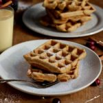 Got leftover eggnog in your fridge? Don't drink it! Use it to make these super delicious and EASY-to-make Whole Wheat Eggnog Waffles! @cookinRD | sarahaasrdn.com
