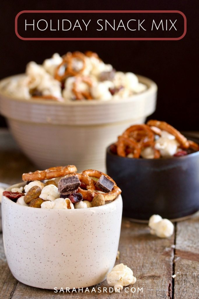 Need a delicious snack to feed your guests during the holidays? Look no further than this simple-to-make Holiday Snack Mix! @cookinRD   sarahaasrdn.com
