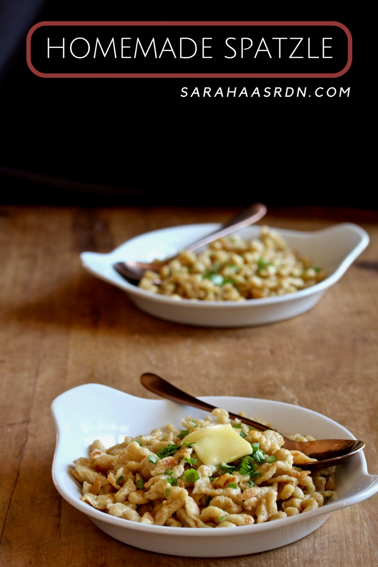 Think you can't make your own pasta? Then you haven't made spatzle! Learn how easy it is to make this classic German pasta/dumpling! @cookinRD | sarahaasrdn.com