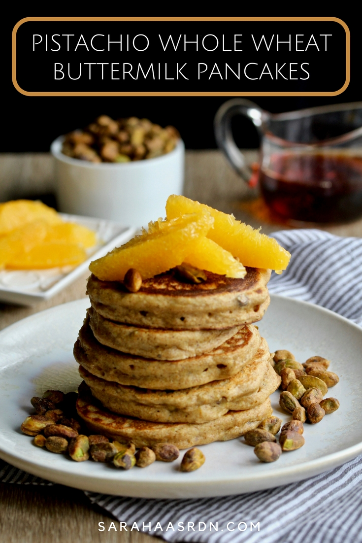 Taste how lovely pistachios taste INSIDE pancakes with these Pistachio Whole Wheat Buttermilk Pancakes! @cookinRD | sarahaasrdn.com