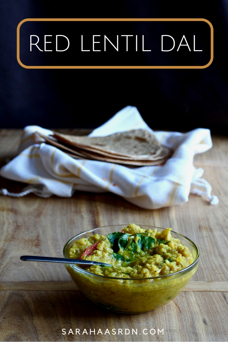Looking for a super delicious, vegetarian dish that satisfies? Look no further than this Red Lentil Dal! @cookinRD | sarahaasrdn.com
