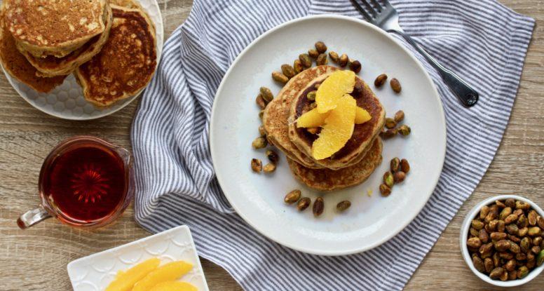 Taste how lovely pistachios taste INSIDE pancakes with these Pistachio Whole Wheat Buttermilk Pancakes! @cookinRD | sarahaasrdn.com