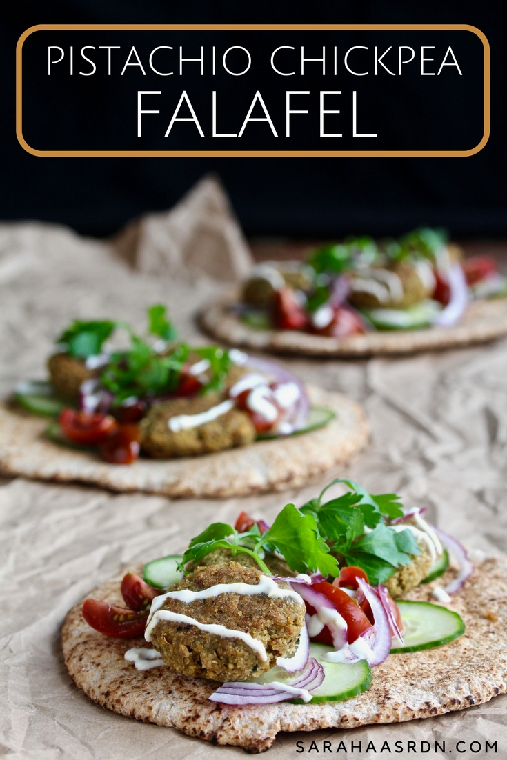 If you haven't made falafel yet, now's the time. You'll love the addition of sweet pistachios in these Pistachio Chickpea Falafel. @cookinRD | sarahaasrdn.com