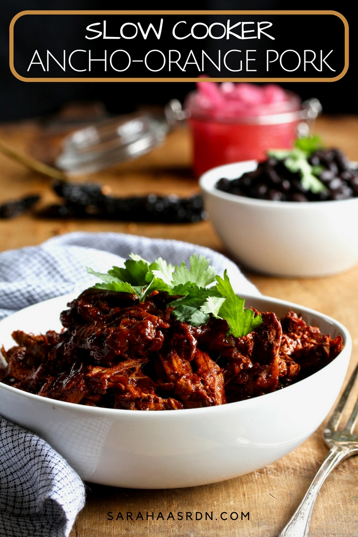 America's Test Kitchen does it again! I'm in love with their Ancho Orange Pork. So much so, that I've re-created it as a slow cooker recipe! ! @cookinRD | sarahaasrdn.com