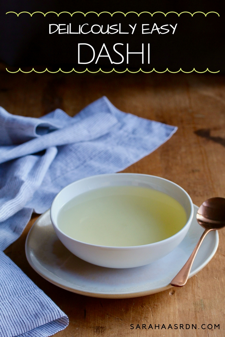This delicious Japanese broth is bursting with umami and makes the perfect base for my Homemade Miso Soup! Try your hand at making dashi today! @cookinRD | sarahaasrdn.com