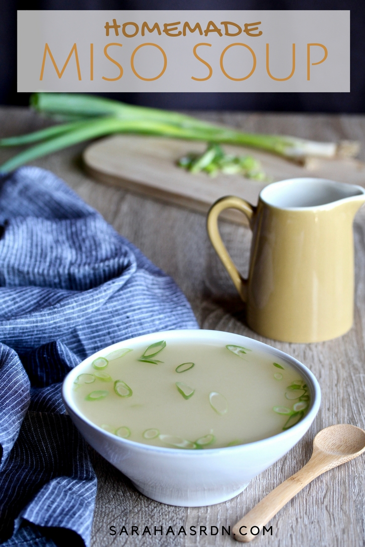Now that you've mastered dashi, it's time to make Homemade Miso Soup. Who needs carryout when you can make it yourself? @cookinRD | sarahaasrdn.com