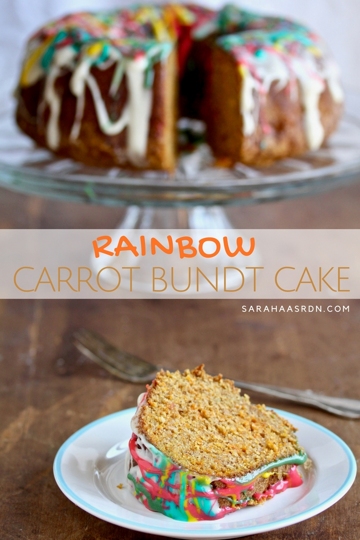 There's carrot cake and then there's RAINBOW CARROT BUNDT CAKE. Pretty sure you're going to love this delicious bundt version of a classic! @cookinRD | sarahaasrdn.com