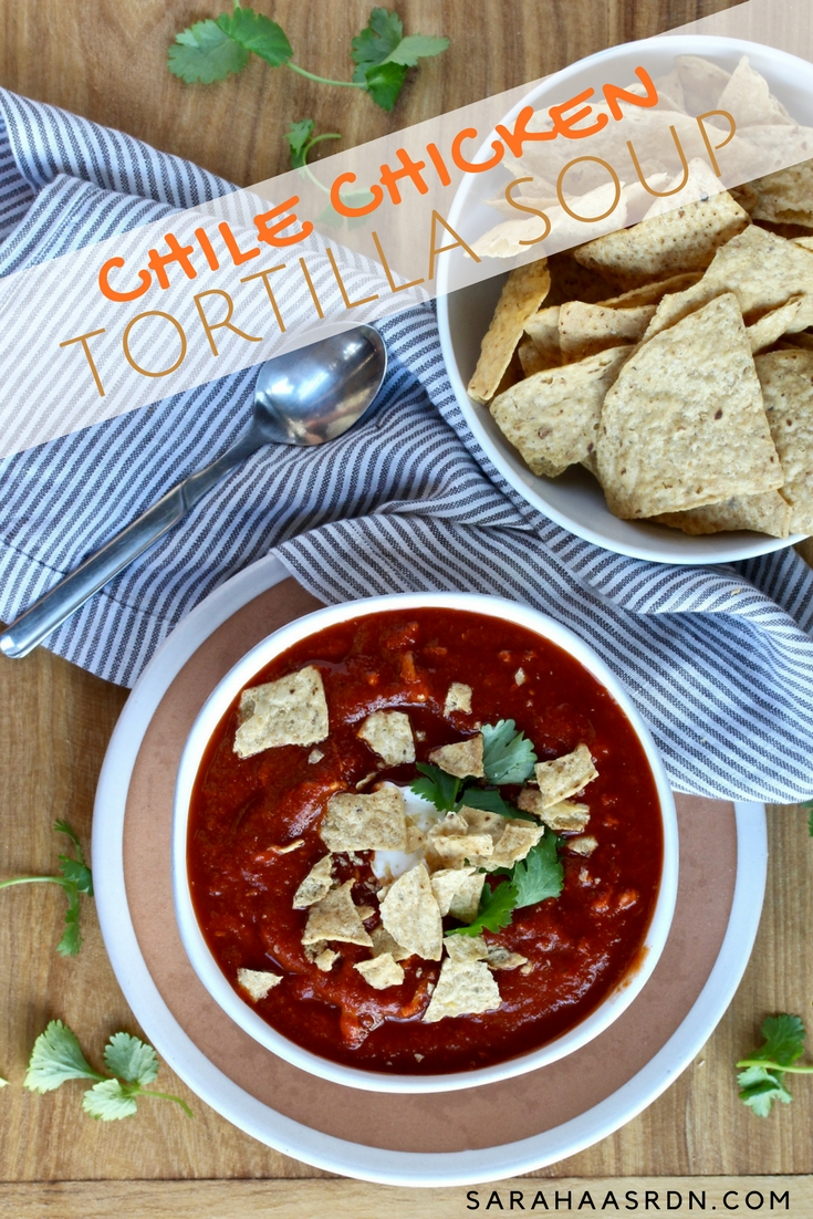 Why not jazz your chicken tortilla soup up with some delicious chiles? Right now, I'm all about incorporating amazingly flavorful dried chiles into my dishes. This soup doesn't disappoint! @cookinRD | sarahaasrdn.com
