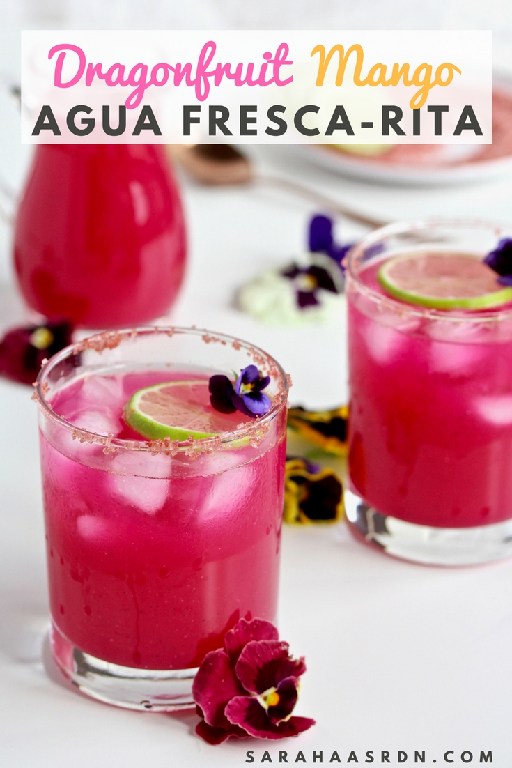 Refreshing margarita alert! There's no better way to enjoy a plate full of tacos than with this tequila and fruit-infused beverage! Make a pitcher of these Dragonfruit Mango Agua Fresca-Ritas for your next fiesta! @cookinRD | sarahaasrdn.com