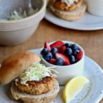 Yes, it's time to give salmon patties another try. My version is super simple to make and packed with flavor. Plus it comes with a perfect cabbage slaw topping! @cookinRD | sarahaasrdn.com