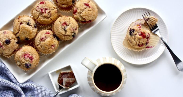 There are bad muffins and there are good muffins. These Seriously Berry Muffins are GOOD muffins. Easy to make and won't last long! @cookinRD | sarahaasrdn.com