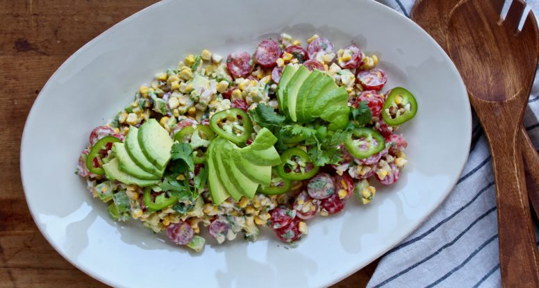 Grilled sweet corn becomes salad! Add a little avocado and jalapeno and a super tasty dressing and you've got a salad you will happily enjoy all summer!