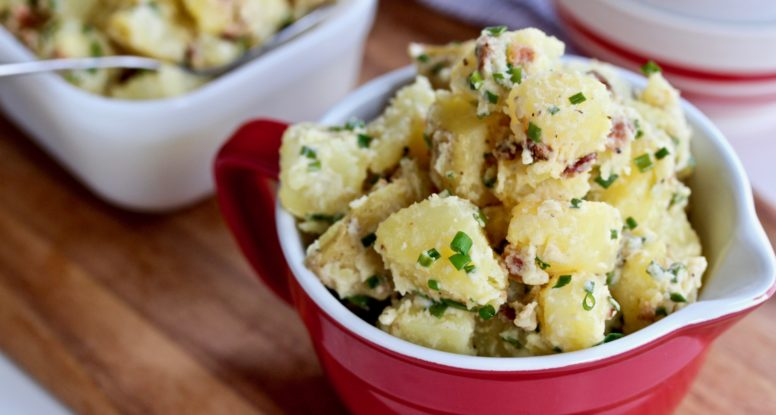 Traditional potato salad with a punch of bacon and chives. You can't beat this easy Bacon Chive Potato Salad! @cookinRD