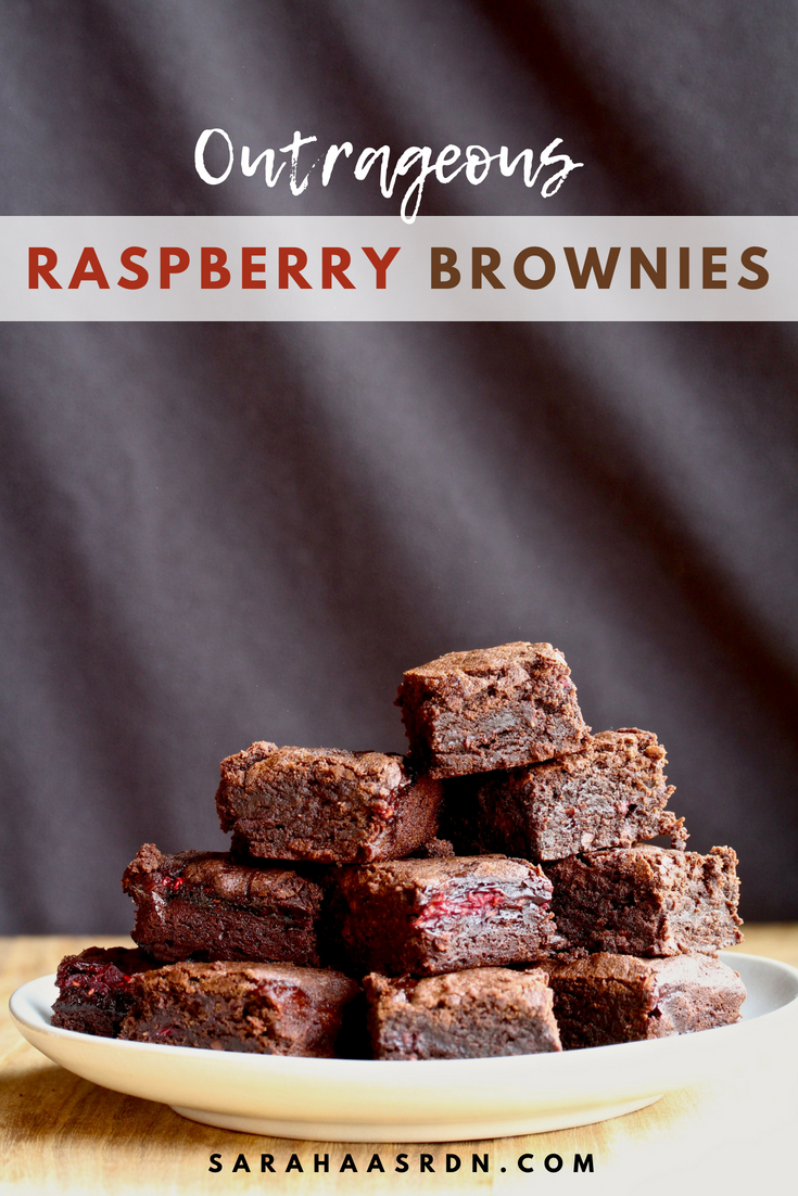 It's the ultimate sweet combination! Try these Outrageous Raspberry Brownies because you deserve to be happy! @cookinRD | sarahaasrdn.com