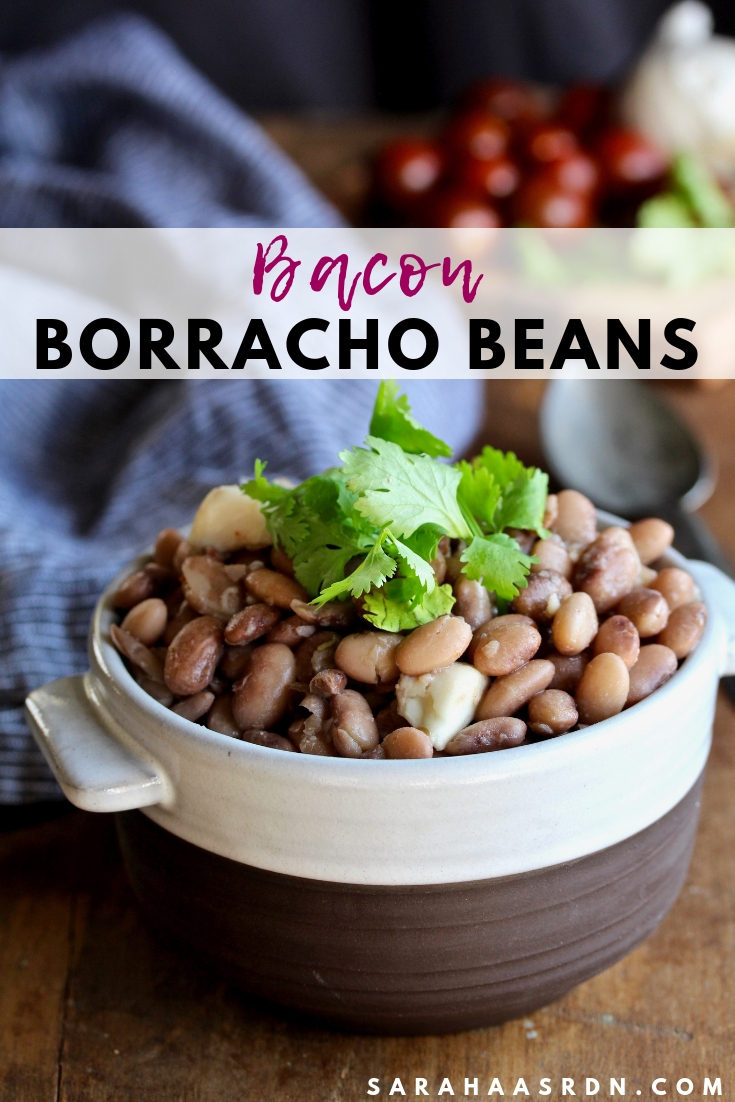 Boring beans? Not these Bacon Borracho Beans! Dry beans are transformed into something magical when infused with bacon and garlic! @cookinRD   sarahaasrdn.com