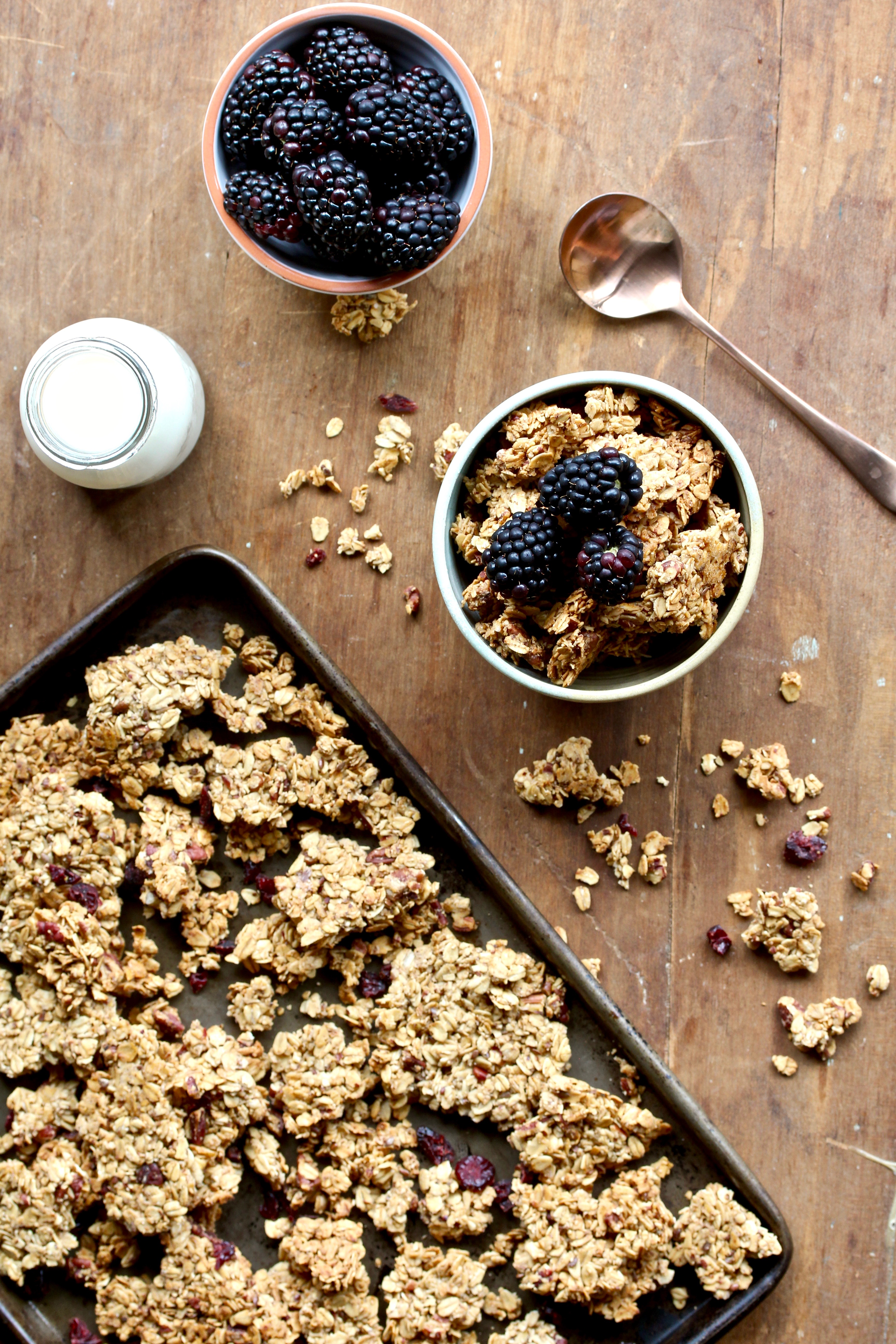 Buying granola is easy, but so is making granola. And this Cranberry Pecan Granola makes for a super delicious breakfast or snack! @cookinRD | sarahaasrdn.com