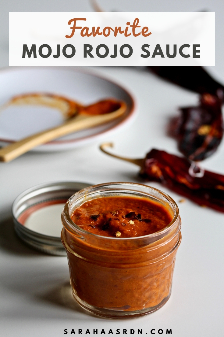 Every smart cook knows a great sauce makes a great meal! Learn how to make this simple Mojo Rojo sauce for weeknight dinner success! @cookinRD | sarahaasrdn.com