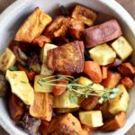 The ultimate veggie side dish is here! Easy Roasted Root Vegetables are the perfect compliment to almost any winter meal! @cookinRD | sarahaasrdn.com