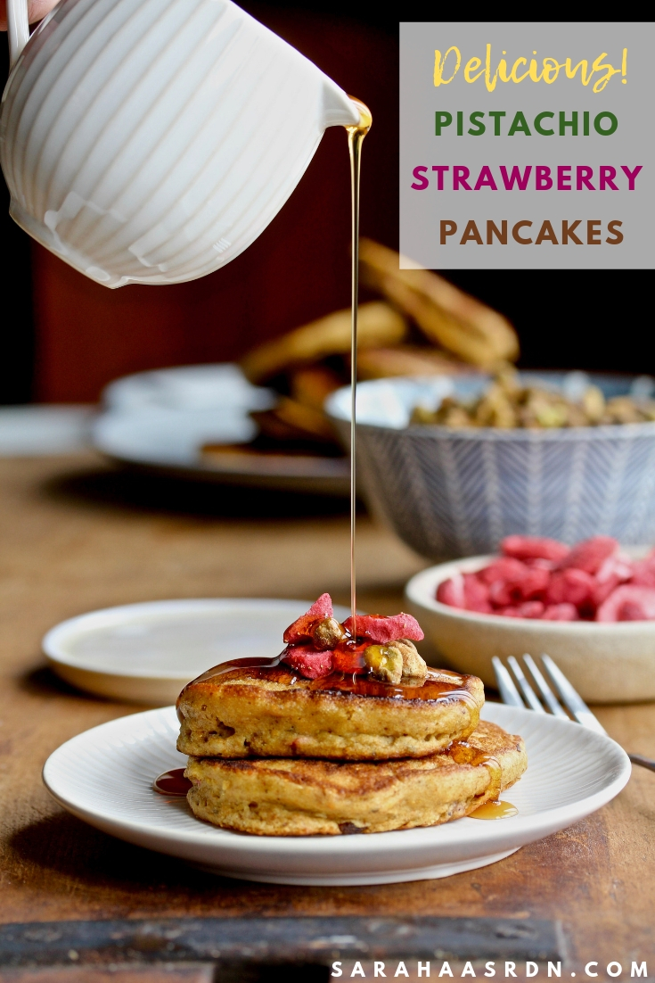 Add a touch of natural sweetness to your pancakes with pistachios and freeze dried strawberries!