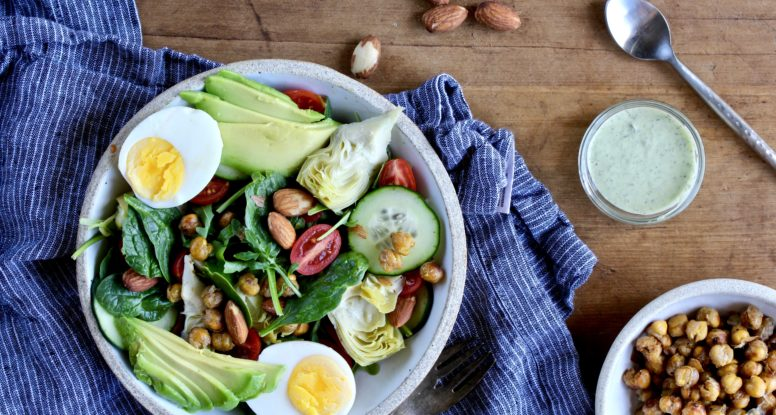 The west coast doesn't feel so far away when you sit down to enjoy this salad! This West Coast Cobb Salad is completely vegetarian and 100% satisfying and delicious!