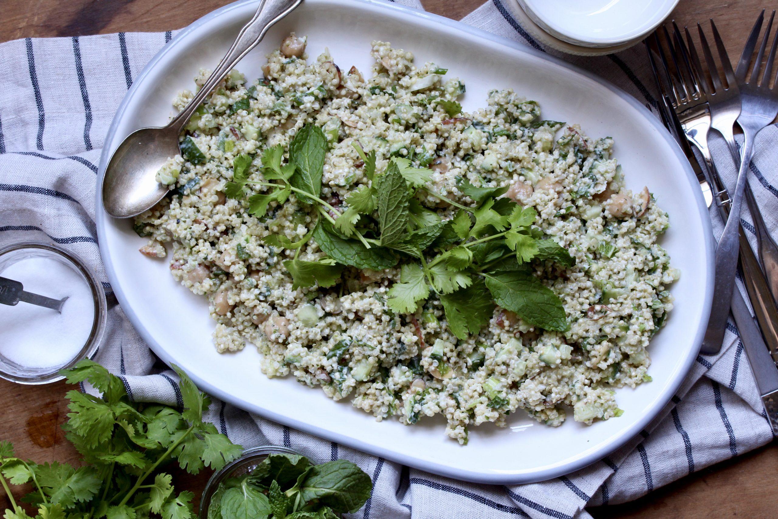 Cilantro-Mint Quinoa Salad | @cookinRD
