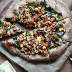 Bacon Kale Peach BBQ Pizza